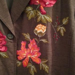 Dressbarn brown silk embroidered coat Sz 2X